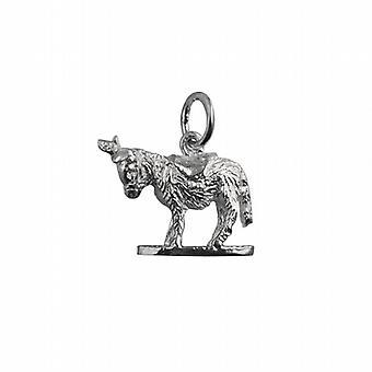Zilveren 14x17mm solide Donkey hanger of Charm