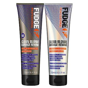 Fudge Clean Blonde Damage Rewind Violet Duo champú + Acondicionador 250ml