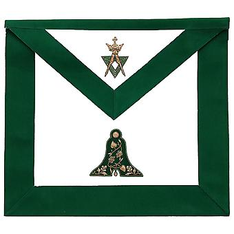 Allied Masonic Degree AMD Hand Embroidered Officer Apron - Senior Warden