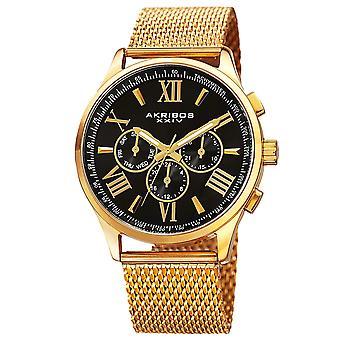Akribos XXIV orologio da polso svizzero al quarzo multifunzione Dual Time in acciaio inossidabile Watch AK844YGB