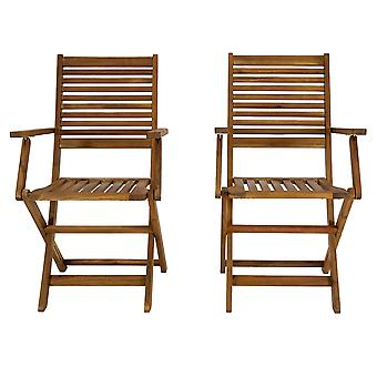 Charles Bentley FSC Akazie Holz paar faltbare Outdoor Dining Sessel