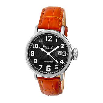 Heritor Automatic Olds Leather-Band Watch - Silver/Black/Camel