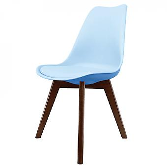 Fusion Living Eiffel Inspired Blue Plastic Dining Chair With Squared Dark Wood Legs