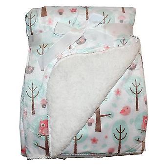 Valkoiset puut & Pink Birds Mink Sherpa Fleece vuorattu vauva huopa