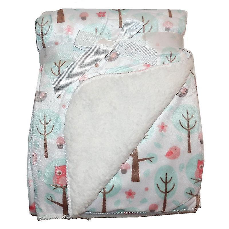White Trees & Pink Birds Mink Sherpa Fleece Lined Baby Blanket
