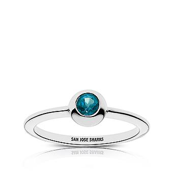 San Jose Sharks Topaz Ring In Sterling Silver Design by BIXLER