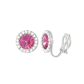 Eternal Collection Elfin Rose Pink Austrian Crystal Silver Tone Stud Clip On Earrings