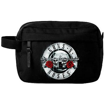 Guns N Roses Wash Bag Silver Classic Bullet Band Logo nuovo ufficiale nero