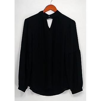 Laurie Felt Top Woven Long Sleeve w/ Keyhole Black A301673