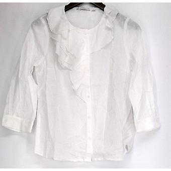 Issac Mizrahi Live! Top Button Down Cotton Swiss Dot Ruffle White A200515