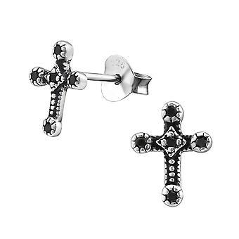 Крест - 925 стерлингового серебра кубического циркония уха шпильки - W30822x