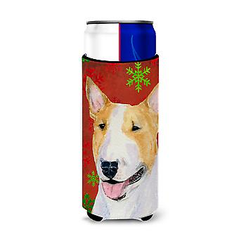 Bull Terrier Red and Green Snowflakes Holiday Christmas Ultra Beverage Insulator