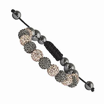 Slip on Adjustable 10mm Grey and Champagne Crystal And Hematite Beads Black Cord Bracelet Jewelry Gifts for Women