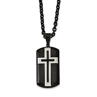 Stainless Steel Engravable Fancy Lobster Closure Brushed and Polished Black Ip plated Religious Faith Cross Necklace 24