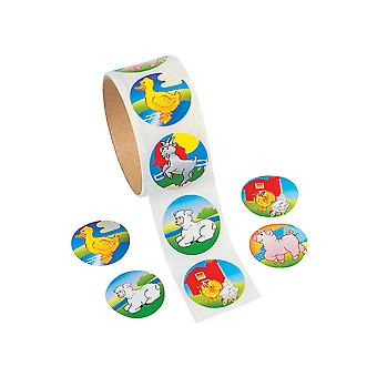 Roll of 100 Farm Stickers for Kids Crafts