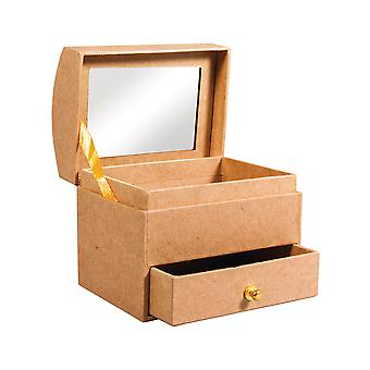 Small Paper Mache 10cm Jewellery Box with Drawer & Mirror to Decorate