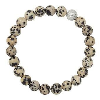 Eternal Collection Debutante Dalmatian Jasper Semi Precious Beaded Silver Tone Stretch Bracelet