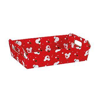 31cm Red Christmas Mickey Cardboard Gift Hamper Tray