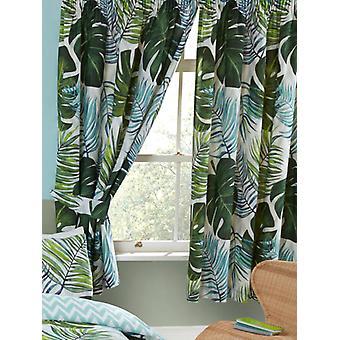 Tropiske palmeblader foret gardiner