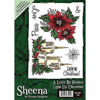 Sheena Douglass A6 Xmas Rubber Stamp - Light Up Christmas