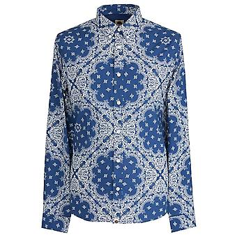 PRETTY GREEN Slim Fit Bandana Print Navy Shirt