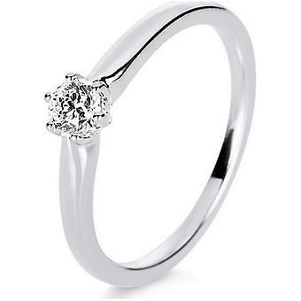 Diamond Ring Ring - 14K 585/- Or blanc - 0.25 ct. Taille 54