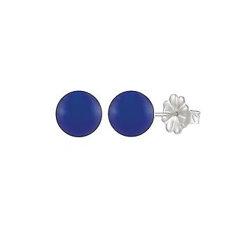 Eternal Collection Solo 10mm Blue Onyx Sterling Silver Stud Pierced Earrings