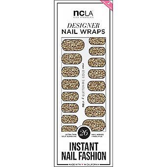 ncLA Los Angeles Instant Nail Fashion Designer Nail Wraps - Glittering Gold Glitter (26 Wraps)
