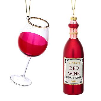 2 Premium Glass Red Wine Lovers Christmas Tree Hanging Ornaments