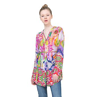 Desigual Women&s Bright Rosa Pitkäviivainen paita