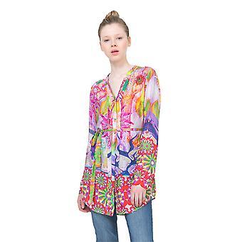 Desigual Women's Bright Rosa Long-Line Shirt