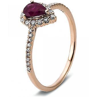 Gemstone Ring Diamonds 0.22ct. Ruby 0.45 ct. Size 54