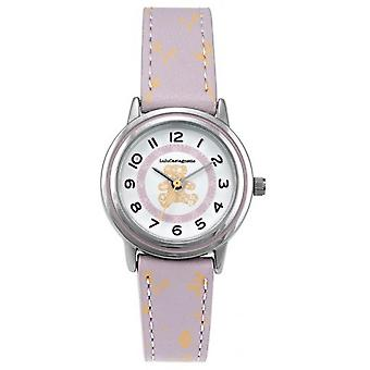 Children's Watch Lulu Castagnette 38903 - Round case m tal White dial purple leather bracelet