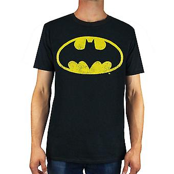 Batman T-Shirt Distressed Logo Men's Adults DC Comics Gift Black Shirt Top