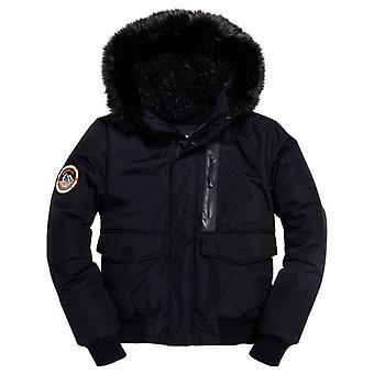 Superdry Black Fur Trimmed Everest Bomber Veste 12A