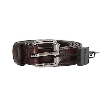 Dolce & Gabbana Brown Patterned Leather Square Silver Buckle Belt