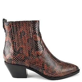 Ash FLOYD BIS Boots Brown Snake Print Leather