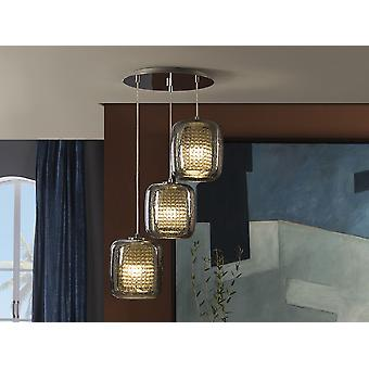 Schuller Aqua - Lamp of 3 lights made of metal, chrome finish. Shimmered glass shades with 'rain' effect and stripes of crystal beads inside. - 654639