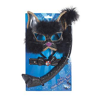 Bristol Novelty Black Glitter Cat Set