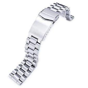 Strapcode watch bracelet 20mm endmill solid 316l stainless steel watch bracelet, straight end, v-clasp button double lock