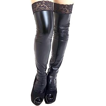 Sexy Plus Size Shiny Lace Top Wet Look Stocking Thigh Highs Hosiery