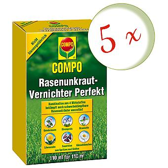 Sparset: 5 x COMPO Lawn Weed Killer Perfect, 110 ml