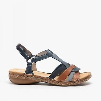 Rieker 62857-14 Ladies Strappy Sandals Pacific/cayenne