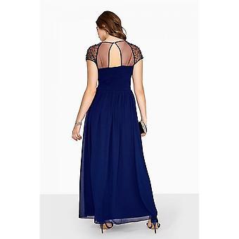 Little Mistress Curvy Womens/Ladies Chiffon Mesh Cap Maxi Dress