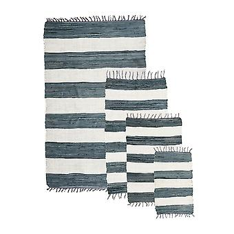 Stow Green Small Multi Cotton Grey Stripe Rug 40 X 60cm