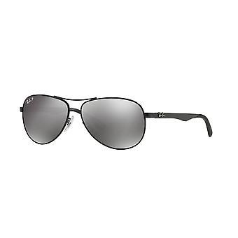 Ray-Ban RB8313 002/K7 Shiny Black/Grey Mirror Black Polarised Sunglasses