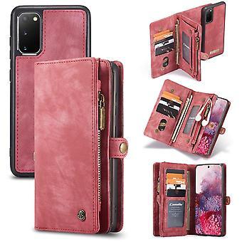 CASEME Samsung Galaxy S20 Caixa de carteira de couro retrô - vermelho