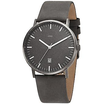 JOBO Men's Watch Quartz Analog Titanium Leather Strap Grey