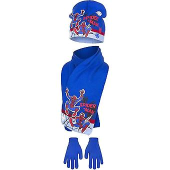 Marvel spiderman kids winter hat scarf and gloves set