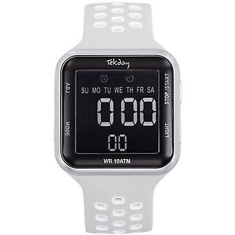 Watch Tekday 655954 - Digital Bracelet Bo tier Silicone White Woman